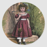 Vintage Victorian & Cute: The Girl in Red Round Stickers