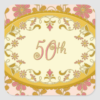 Vintage Victorian Daisy 50th Anniversary Stickers