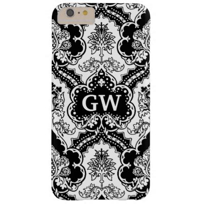 Vintage Victorian Damask Monogram Barely There iPhone 6 Plus Case