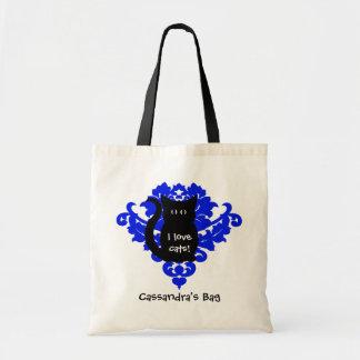 Vintage victorian damask royal blue and black cat tote bag