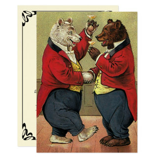 Vintage Victorian Dancing Bears Save the Date Card