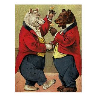 Vintage Victorian Dancing Bears Save the Date Postcard