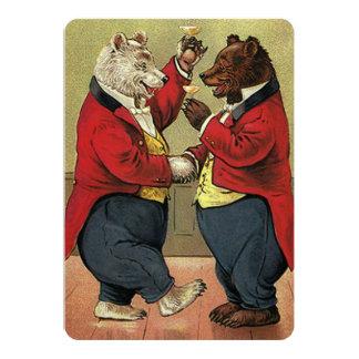 Vintage Victorian Dancing Bears Wedding Card