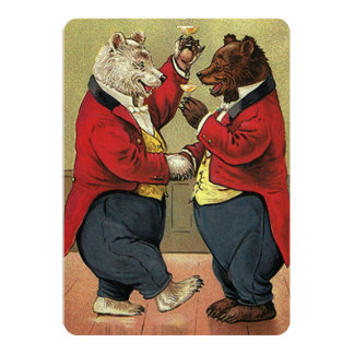 Vintage Victorian Dancing Bears Wedding 5x7 Paper Invitation Card
