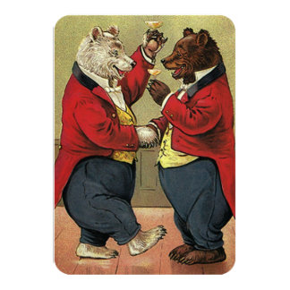 Vintage Victorian Dancing Bears Wedding RSVP Card