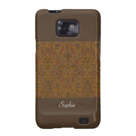 Vintage Victorian Dark Gold Damask On Chocolate Samsung Galaxy Sii Cas