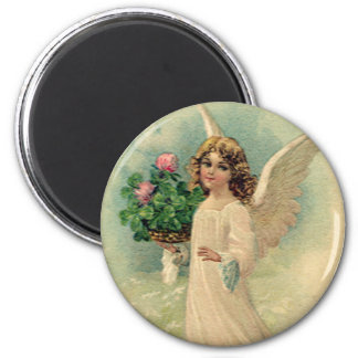 Vintage Victorian Easter Angel with Flowers 2 Inch Round Magnet