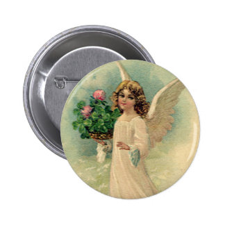 Vintage Victorian Easter Angel with Flowers Button