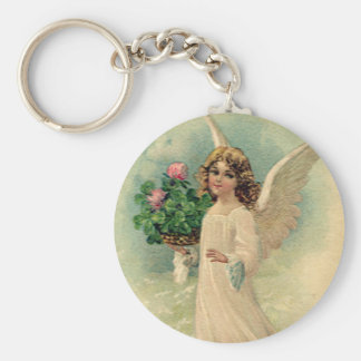 Vintage Victorian Easter Angel with Flowers Keychain