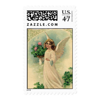 Vintage Victorian Easter Angel with Flowers Postage