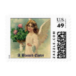 Vintage Victorian Easter Angel with Flowers Stamp