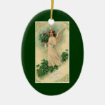 Vintage Victorian Easter, Angelic Angel Flowers Double-Sided Oval Ceramic Christmas Ornament
