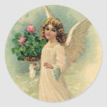Vintage Victorian Easter, Angelic Angel Flowers Round Stickers