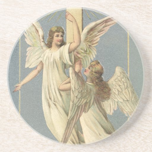 Vintage Victorian Easter Angels with a Cross Coasters