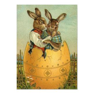 Vintage Victorian Easter Bunnies, Giant Easter Egg Card