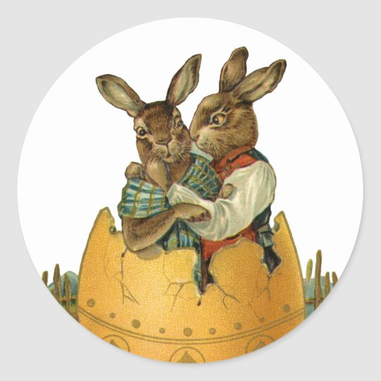 Vintage Victorian Easter Bunnies, Giant Easter Egg Classic Round Sticker