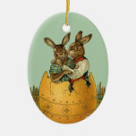 Vintage Victorian Easter Bunnies, Giant Easter Egg Double-Sided Oval Ceramic Christmas Ornament
