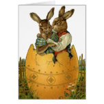 Vintage Victorian Easter Bunnies, Giant Easter Egg Greeting Card