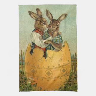 Vintage Victorian Easter Bunnies, Giant Easter Egg Kitchen Towel