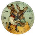 Vintage Victorian Easter Bunnies, Giant Easter Egg Large Clock