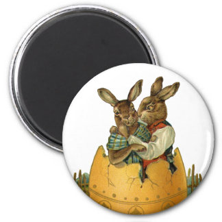 Vintage Victorian Easter Bunnies, Giant Easter Egg 2 Inch Round Magnet