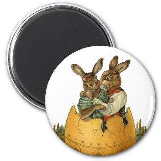 Vintage Victorian Easter Bunnies, Giant Easter Egg Magnet