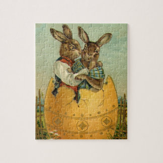 Vintage Victorian Easter Bunnies, Giant Easter Egg Jigsaw Puzzles