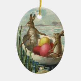 Vintage Victorian Easter Bunnies in an Egg Boat Ceramic Ornament