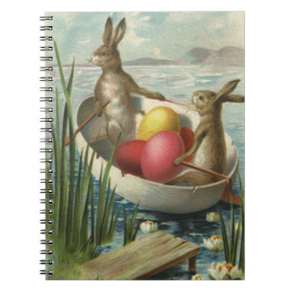 Vintage Victorian Easter Bunnies in an Egg Boat Notebook