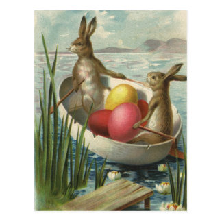 Vintage Victorian Easter Bunnies in an Egg Boat Postcard