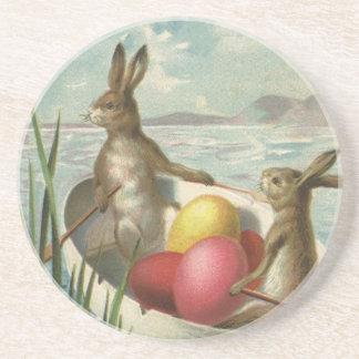 Vintage Victorian Easter Bunnies in an Egg Boat Sandstone Coaster