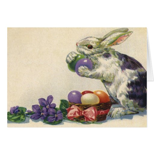 Vintage Victorian Easter Bunny, Eggs and Flowers Card