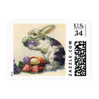 Vintage Victorian Easter Bunny, Eggs and Flowers Stamps
