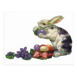 Vintage Victorian Easter Bunny, Eggs and Flowers Post Card
