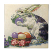 Vintage Victorian Easter Eggs, Bunny and Flowers Ceramic Tile