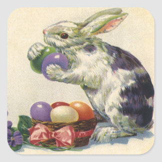 Vintage Victorian Easter Eggs, Bunny and Flowers Square Sticker