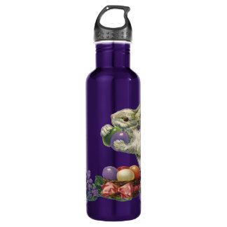 Vintage Victorian Easter Eggs, Bunny and Flowers Water Bottle