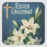 Vintage Victorian Easter Greetings with Lilies Stickers