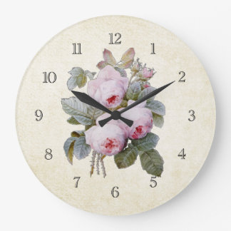 Vintage Victorian English Roses Bouquet Large Clock