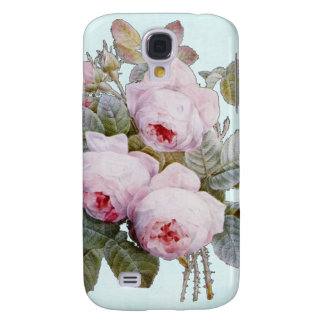 Vintage Victorian English Roses On Baby Blue Galaxy S4 Case