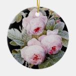Vintage Victorian English Roses On Black Ornaments