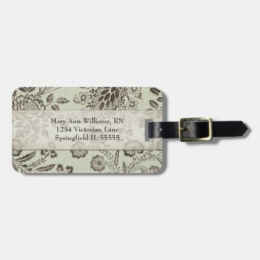 Vintage Victorian Faded Floral Personalized Tag For Luggage