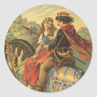 Vintage Victorian Fairy Tale, Brother and Sister Classic Round Sticker