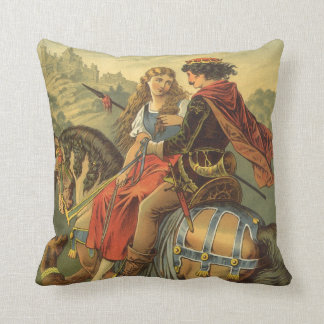 Vintage Victorian Fairy Tale, Brother and Sister Throw Pillow