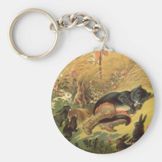 Vintage Victorian Fairy Tale, Puss in Boots Basic Round Button Keychain