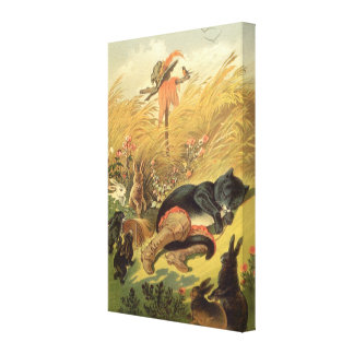 Vintage Victorian Fairy Tale, Puss in Boots Canvas Print