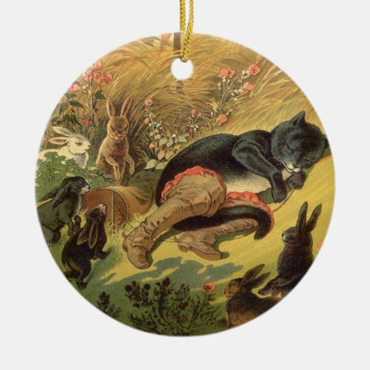 Vintage Victorian Fairy Tale, Puss in Boots Ceramic Ornament