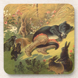 Vintage Victorian Fairy Tale, Puss in Boots Drink Coaster