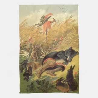 Vintage Victorian Fairy Tale, Puss in Boots Kitchen Towels