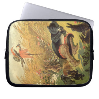 Vintage Victorian Fairy Tale, Puss in Boots Laptop Computer Sleeves
